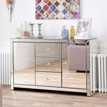 Mirrored Sideboard 2 door 3 draw item in stock