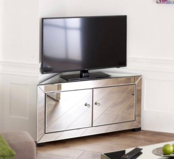 Mirrored Corner TV Entertainment Unit 2 Door item in stock
