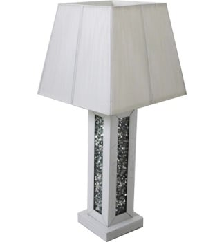 ^Diamond Crush White Mirrored Lamp white with shade