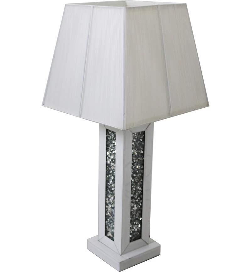 Diamond Crush White Mirrored Lamp white with shade