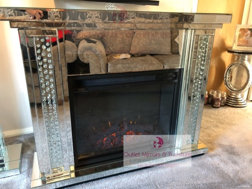 Special offer Floating Crystal Mirrored Fire Surround with electric fire -