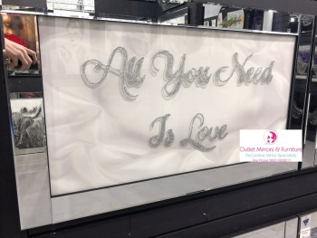 "Mirror framed art print "" Sparkle All you Need is Love"" 100cm x 60cm"