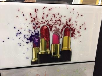 """Liquid Art print """"Lipsticks"""" on white a gloss Mirror   100cm x 60cm"""