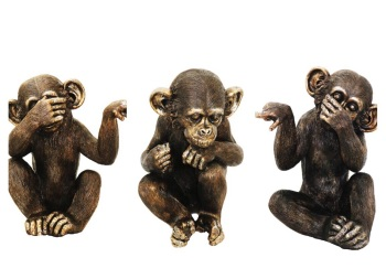 "11.5 "" Wise Monkeys-Speak No Evil / See No Evil / Hear No Evil Set of 3"