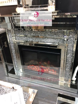 * Diamond Crush Sparkle Mirrored fire surround with electric fire - item in stock - free delivery