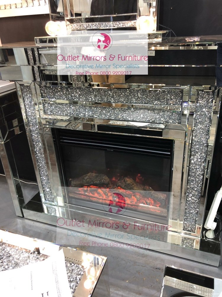 * Special Offer Diamond Crush Sparkle Mirrored fire surround with electric