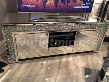 * Diamond Crush Sparkle Mirrored TV Entertainment Unit 130cm item in Stock for delivery