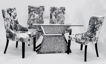 "* Diamond Crush Sparkle Mirrored  Dining Table ""Prism"" Large 150cm"
