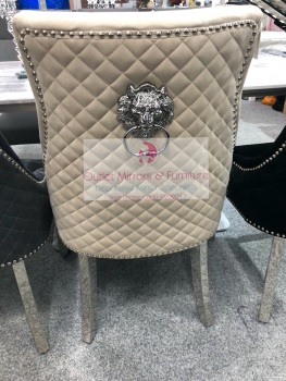 Lion Back Dining Chair Quilted Stitch Back Design in Minx with Chrome Leg