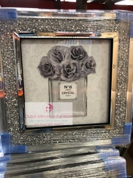 """Crystal No6 in Grey""  Wall Art in a diamond crush frame - item in stock"