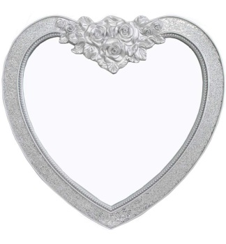 Mosaic Heart Wall Mirror in Silver