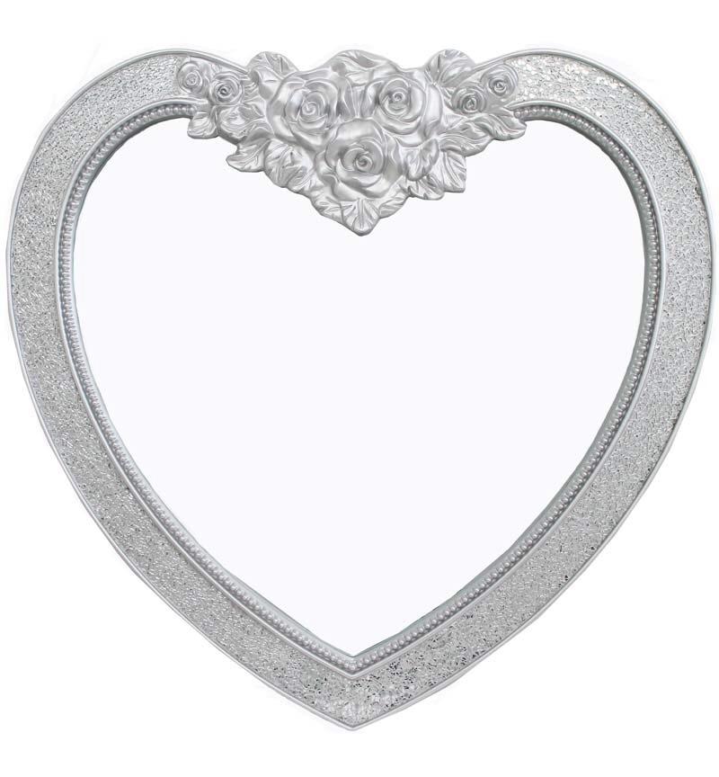 Mosiac Heart Wall Mirror in Silver