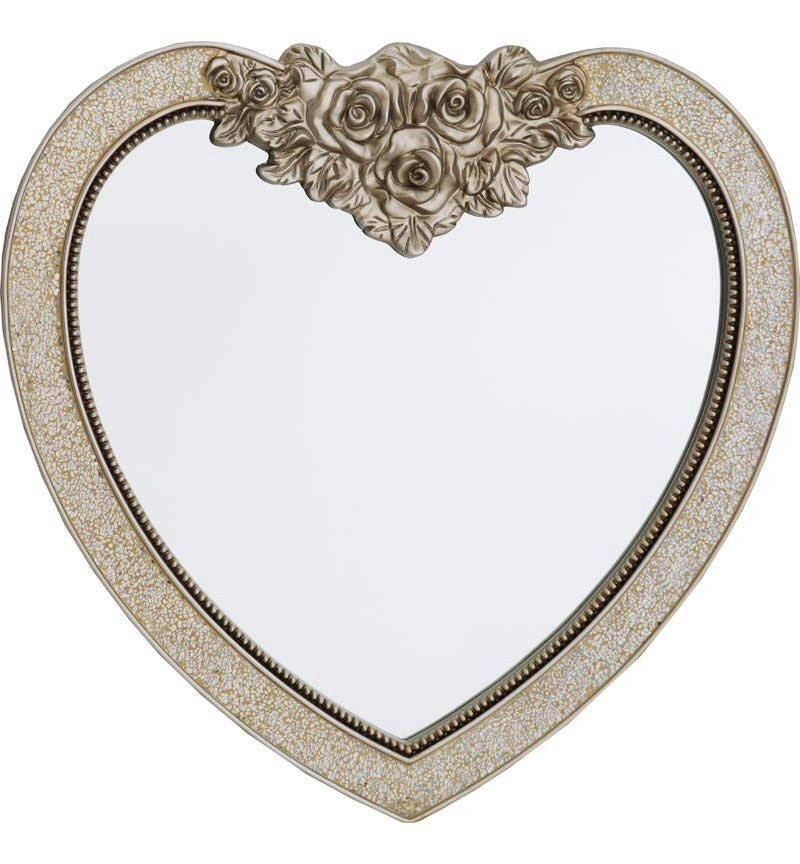 Mosaic Heart Wall Mirror in Champagne Gold