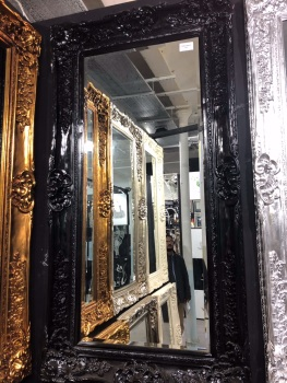 Rococo Scroll Black Shaped Bevelled Mirror