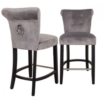 Knocker Back Stool in Grey Velvet