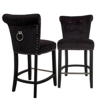 Knocker Back Stool in Black Velvet
