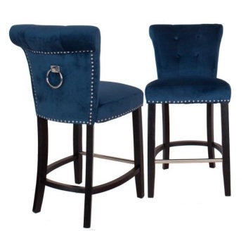 Knocker Back Stool in Teal Blue Velvet