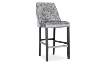 Ellis Knocker Back Stool in Grey Crush Velvet
