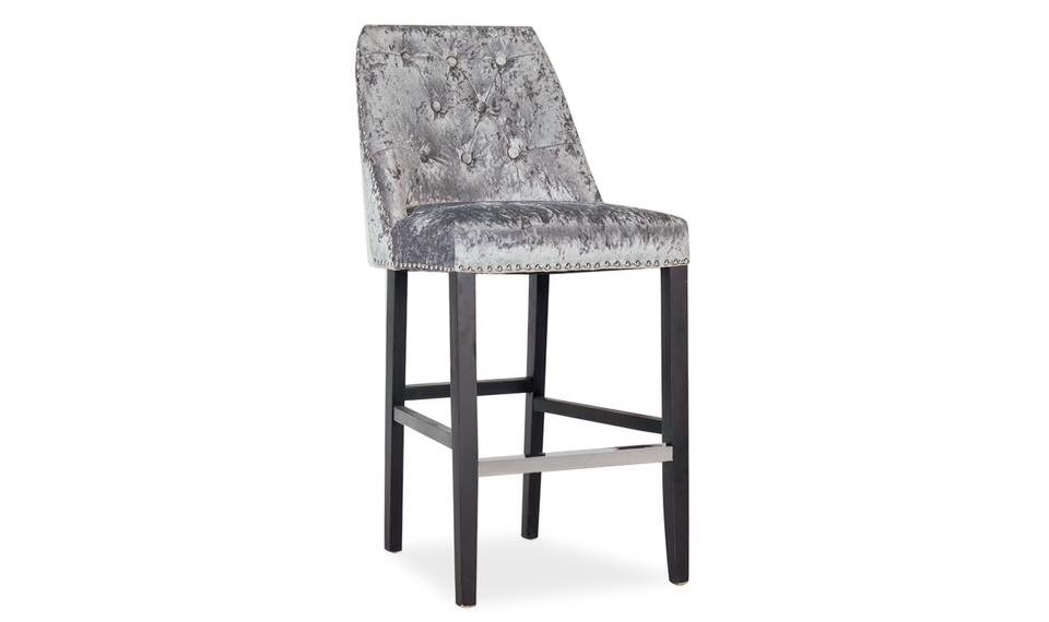Knocker Back Stool in Grey Crush Velvet