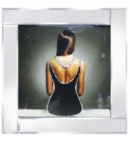 "Mirrored framed Liquid Art ""Lady in Black Dress"""