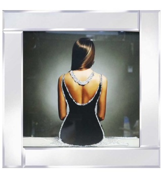 "Mirrored framed Liquid Art ""Lady in Black Dress"""
