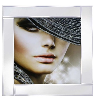 "Mirrored framed Liquid Art ""Glamour Lady 1"""