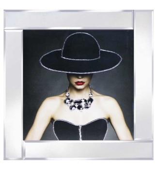 "Mirrored framed Liquid Art ""Glamour Lady 2"""