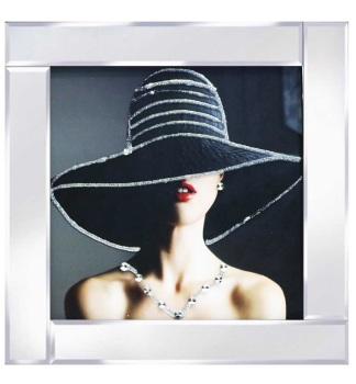 "Mirrored framed Liquid Art ""Glamour Lady 3"""