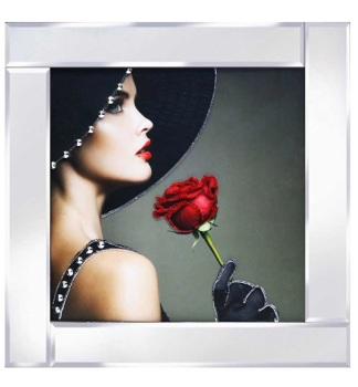 "Mirrored framed Liquid Art ""Glamour Lady Rose"""