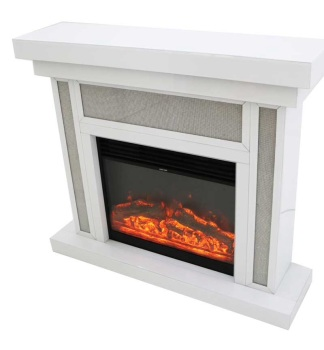 *White Mirrored Glamour Sparkle Mirrored fire surround with electric fire
