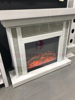 * White Mirrored Glamour Sparkle Mirrored fire surround with electric fire