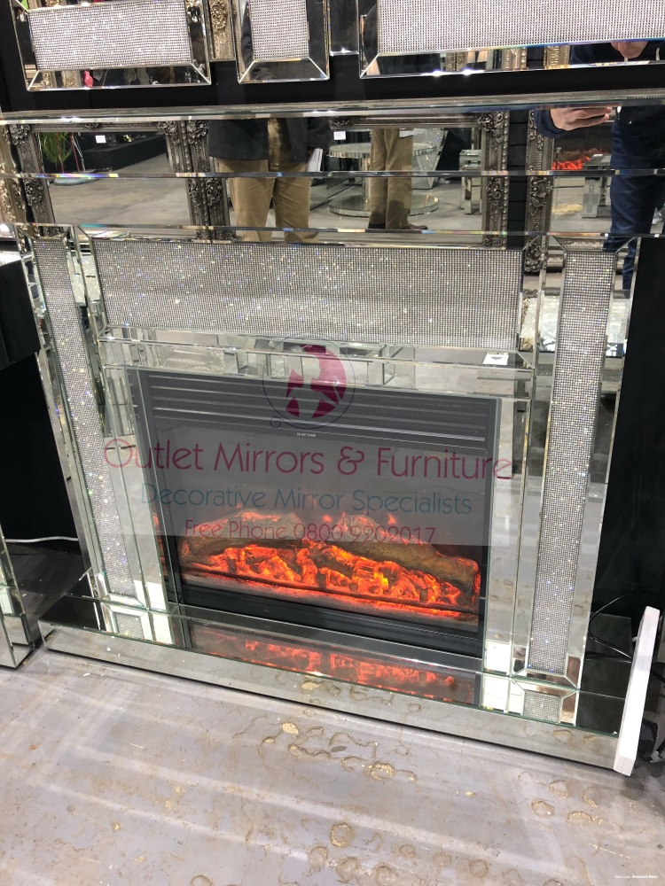 Silver Mirrored Glamour Sparkle Mirrored fire surround with electric fire