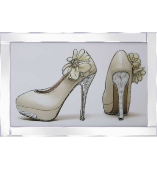 "Mirror framed art print "" Sparkle Glamour Flower Shoes"" 100cm x 60cm"