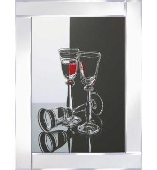"""Mirror framed art print """"Wine glasses"""" 100cm x 60cm"""