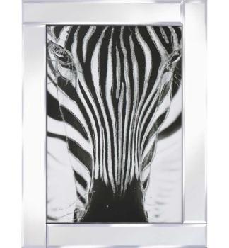 """Mirror framed art print """"Zebra Face"""" 100cm x 60cm"""
