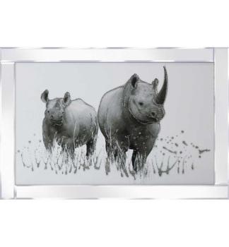 """Mirror framed art print """" Rhinos"""" 100cm x 60cm"""