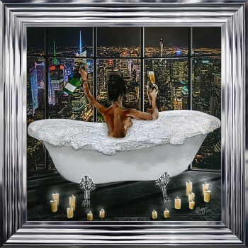 "Chorme stepped Framed art print ""City Girl glamour Bath 2 "" Choice of frame colours"