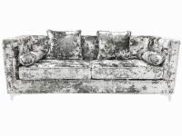 Crush Grey Silver Velvet  3.5 seater Sofa