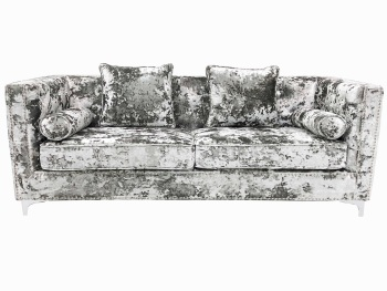 Crush Grey Silver Velvet  3.5 seater Sofa
