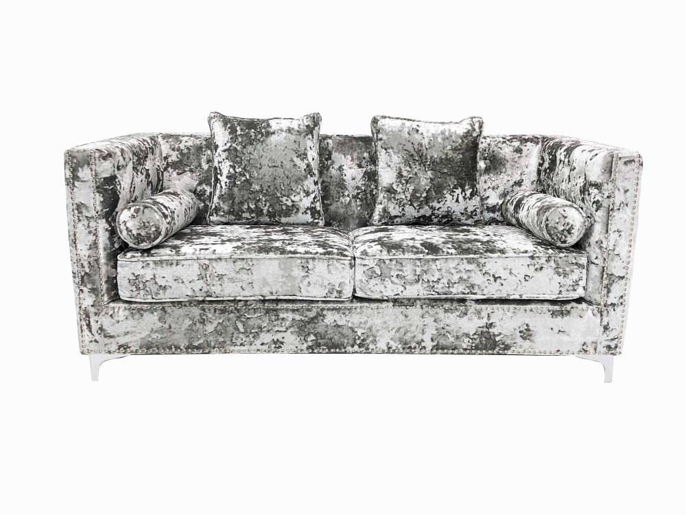 Crush Grey Silver Velvet large  2 seater Sofa
