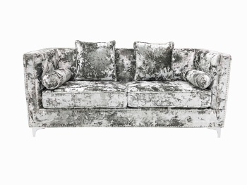 Crush Grey Silver Velvet 2 seater Sofa