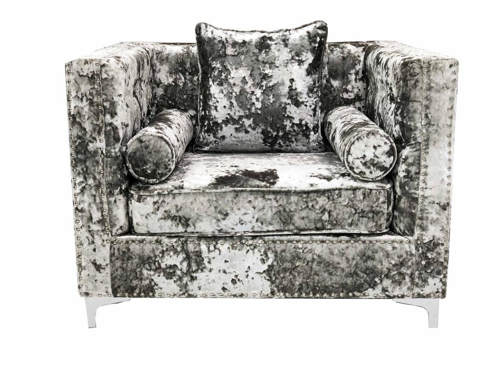 Crush Grey Silver Velvet Armchair