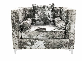 Crush Grey Silver Large Velvet Armchair