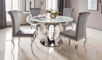 Orion Round Glass Top Dining Table 1300mm