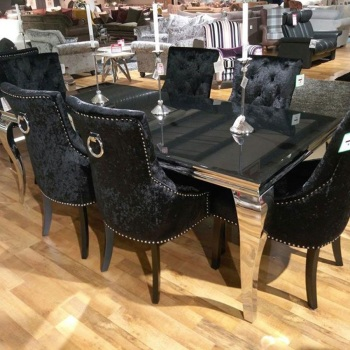 Louis Black Glass Top Dining Table in 1600mm