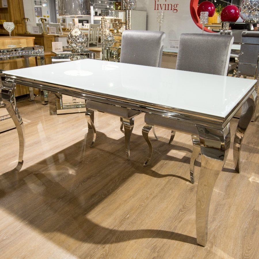 Louis Glass Top Dining Table in White 2000mm