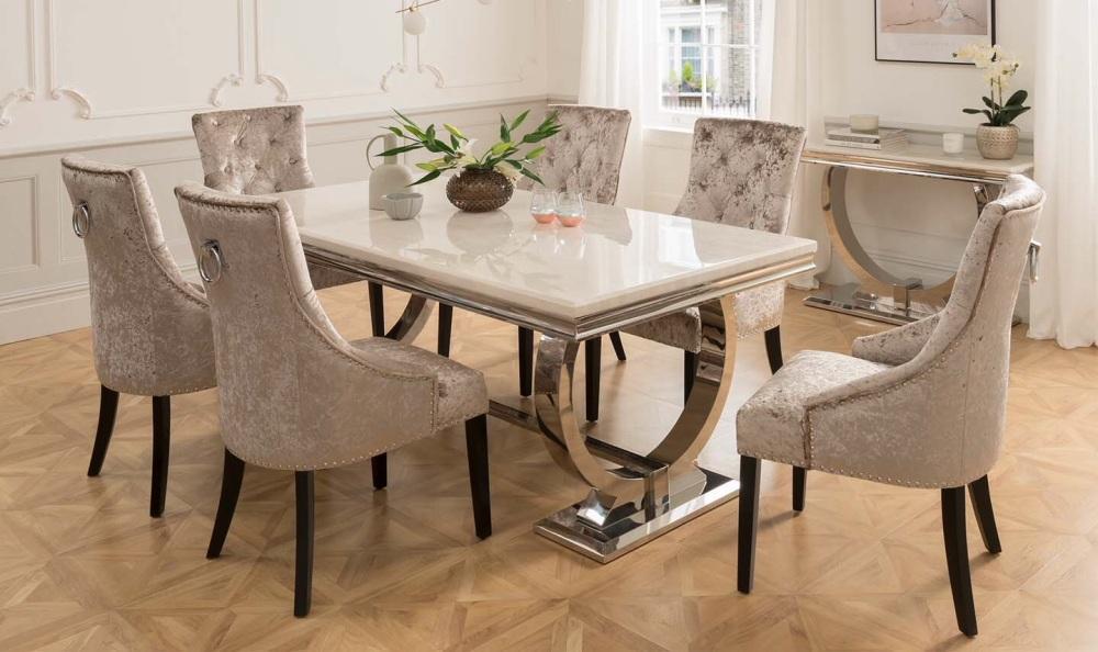 Arianna Cream Marble Table 2200mm