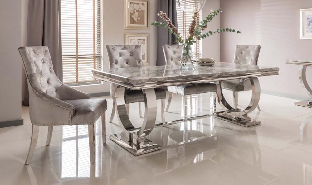 Arianna Grey Marble Table 1800mm