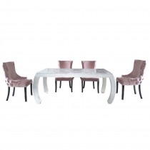 Florence Grey Marble Dining Table and 6 Pink Velvet Chairs