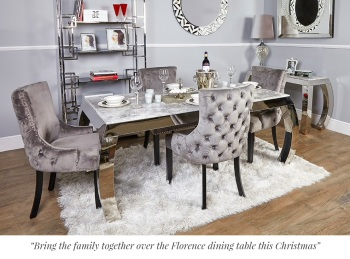 Florence Grey Marble Dining Table and 6 Grey Velvet Chairs